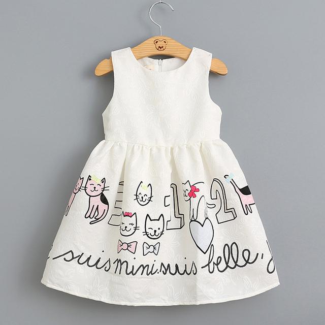 2017 Nuevo vestido de la muchacha princesa ropa de vestir para niños gato imprimió el vestido sin mangas niños vestidos