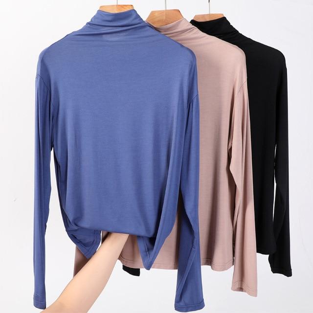 100% cotton long sleeve Solid Turtleneck t-shirt women high stretch slim tops spring autumn skinny Basic Bottoming tshirt tight 1