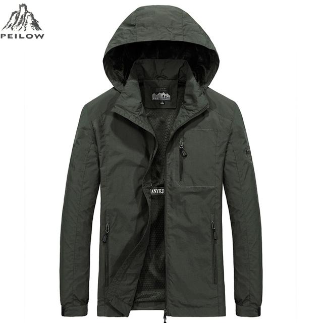 PEILOW new plus size M~6XL Spring Autumn Mens Casual military Hoodie Jacket Men Waterproof Clothes Men's Windbreaker Coat Male