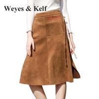 Weyes & Kelf Printemps En Daim Jupes Longues Pour Les Femmes 2018 haute Taille Mince Broderie Jupe De Mode Zipper A-ligne Jupes Femmes Femme