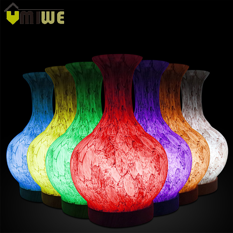 Light Transmission Effect Glass Ultrasonic Humidifier 7 Color Changing LED Lights Aromatherapy Essential Oil Diffuser Mist Maker