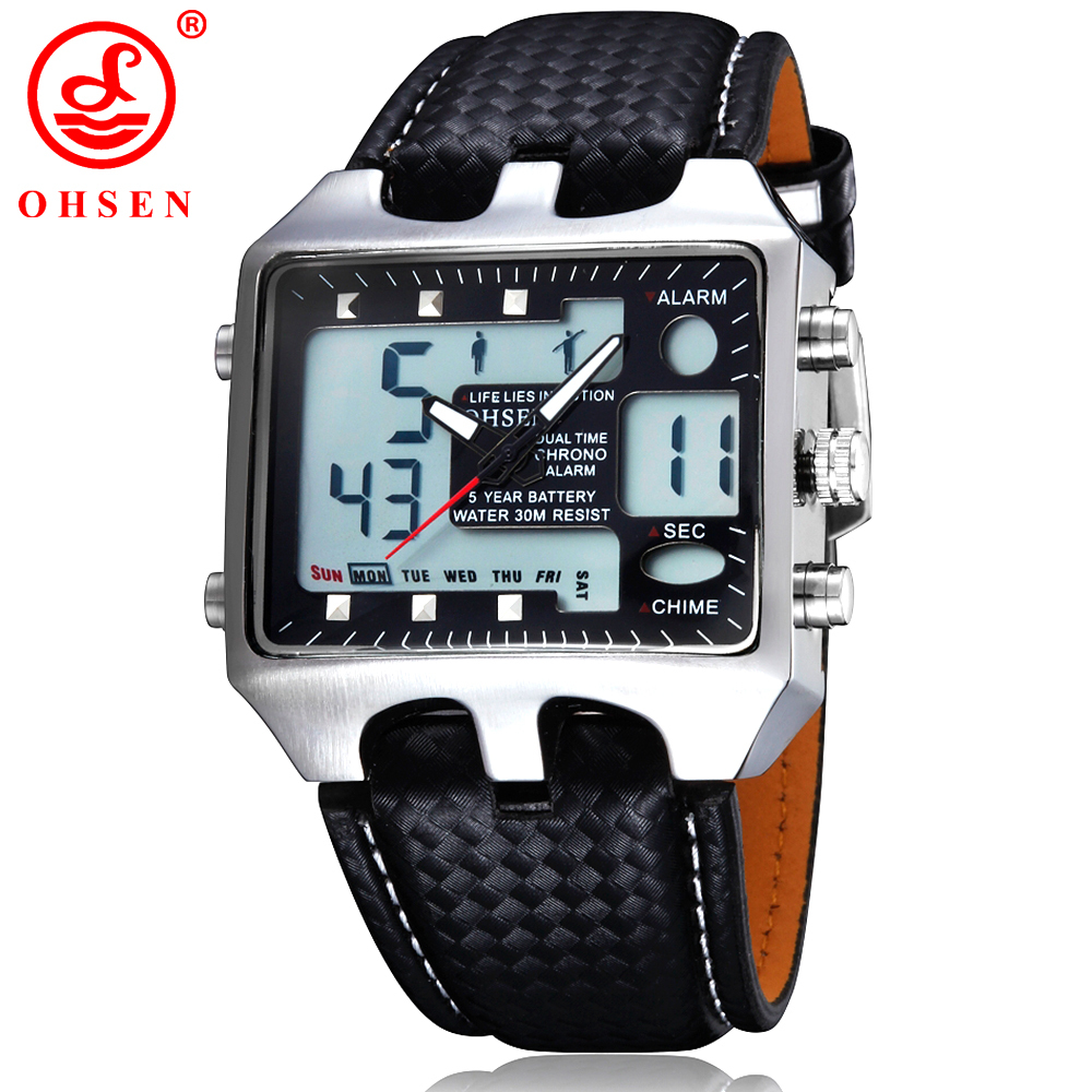 OHSEN Digital Watch Men Waterproof Analog Led Sport Watches for Men Leather Bracelet Alarm Wristwatches Relogio Masculino 0930