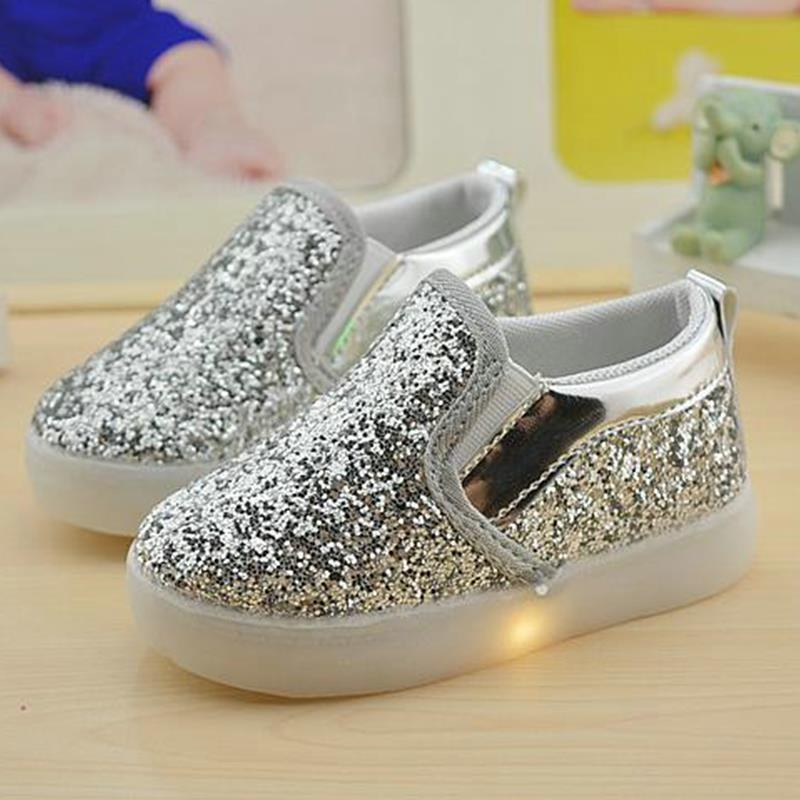 Baby Girls Boy Led Light Shoes Toddler Anti-slip Sports Boots Kids Sneakers Children Cartoon Sequins Pu Flats Size 21-30 New