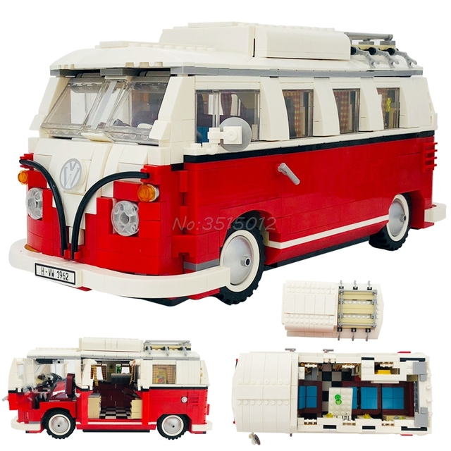 Creator Retro car Toy Legoing Technic Series Cooper T1 Camper Van Light Set Compatible Legoing Car Blocks Kids Toys For Children 1