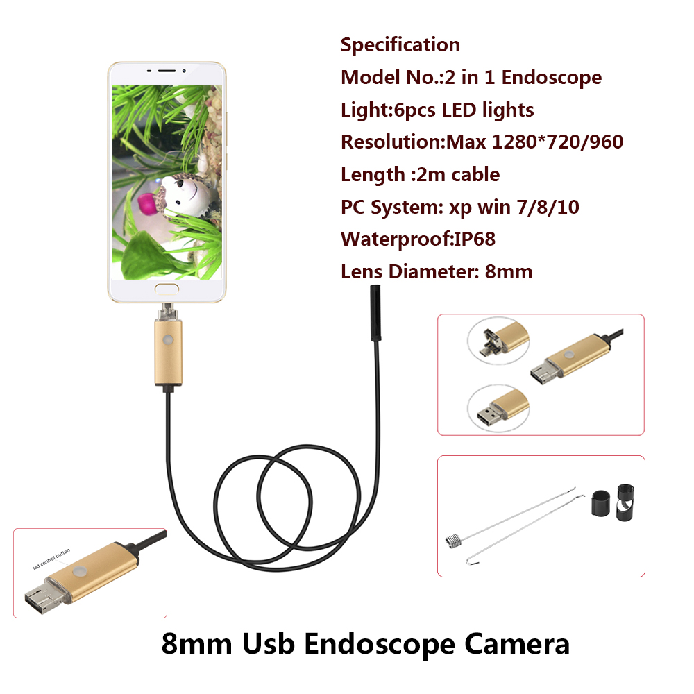 JCWHCAM Endoscope 8mm Lens 2M USB Endoscope Red 2IN1 Snake Inspection Camera Endoscopio Android OTG Phone Borescope for Android 2018 newest 4 9mm lens medical endoscope camera for otg android phone pc usb borescope inspection otoscope camera for ear nose