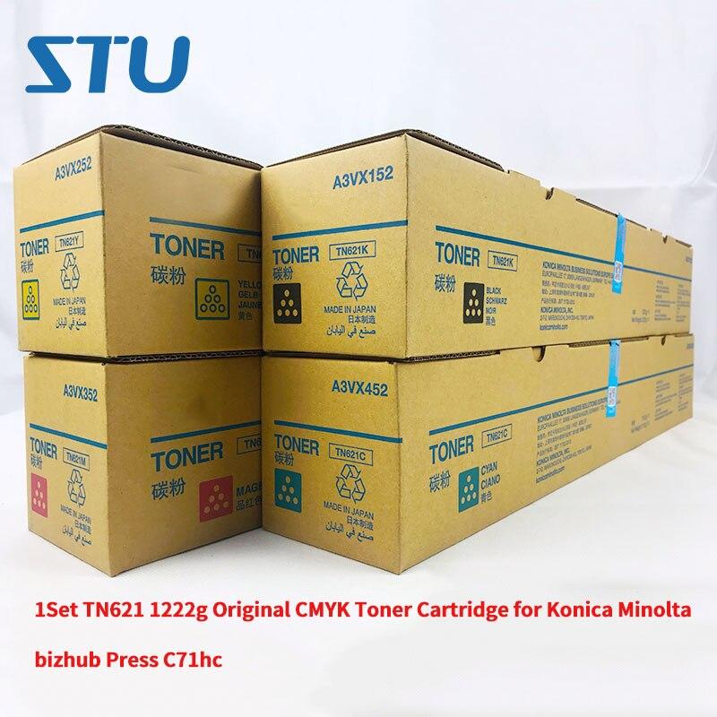1 комплект TN621 1222g новый оригинальный CMYK тонер картридж для Konica Minolta Bizhub Пресс C71hc коробка с тонером