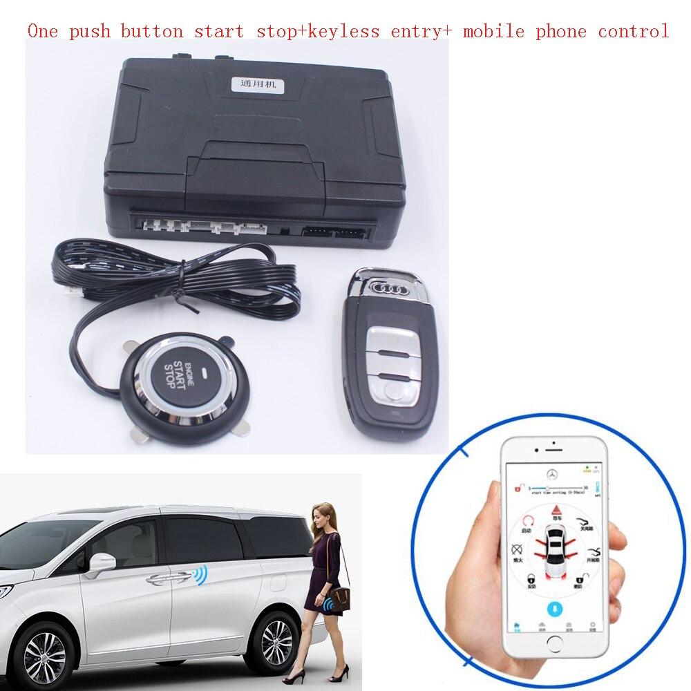 Système universel de démarrage/arrêt du moteur à distance de voiture + système d'entrée sans clé + système de contrôle d'application de téléphone portable
