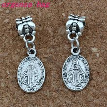 100pcs/lot Dangle Antique silver Catholic Icon Religious Medal San Benito Charm Fit European Bracelets Jewelry DIY 10x29.8mm