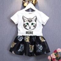 -7Y Ragazze Insiemi del Panno 2 pz Estate Manica Corta Shirt + Skirt Set Cat Stampa Panno Set Delle Ragazze Del Panno vestito