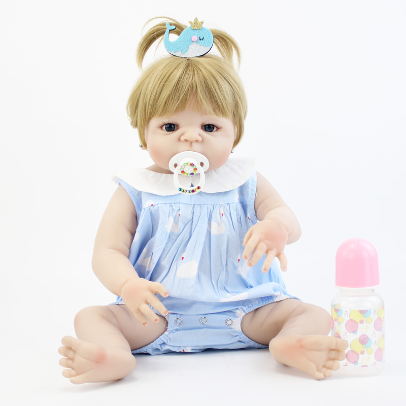55cm Full Silicone Reborn Baby Doll Toy Vinyl Blonde Newborn Toddler Girl Babies With Earring Like Alive Bebe Bonecas Bathe Toy