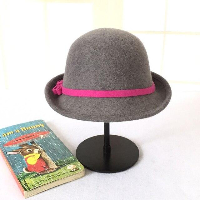 804b13a714d34 100% Wool Bowler Bucket Hat Women British Plain Wool Felt Autumn Floppy  Cloche Hat Grey Camel Fashion Female Winter Women Hat
