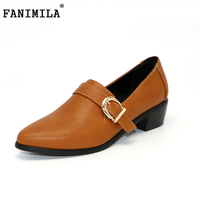 Fashion Women Buckle Style Shoes Woman Vintage Pointed Toe Square Low Heel Pumps Ladies Classic Leisure