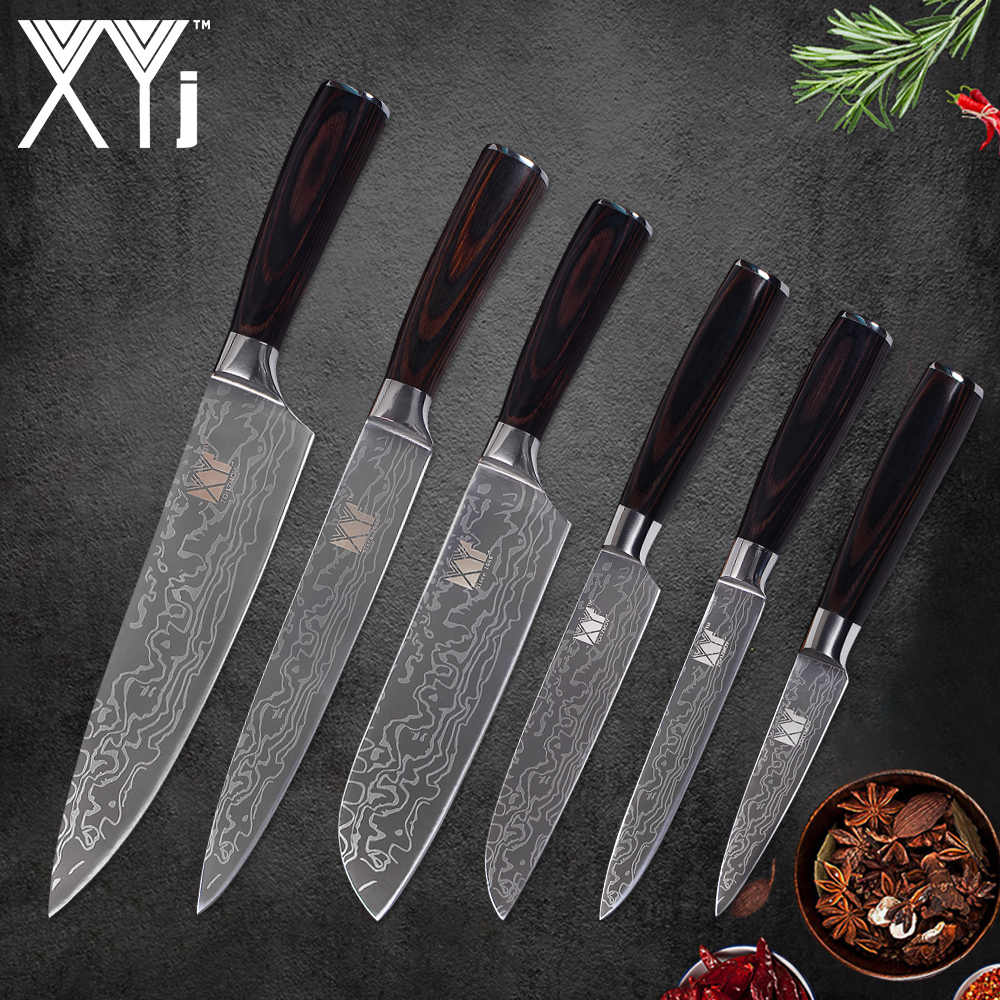 XYj 6 Piece Kitchen Stainless Steel Knife Set Sharp High Carbon Beauty Pattern Blade Color Wood Handle Knives Cooking Tools