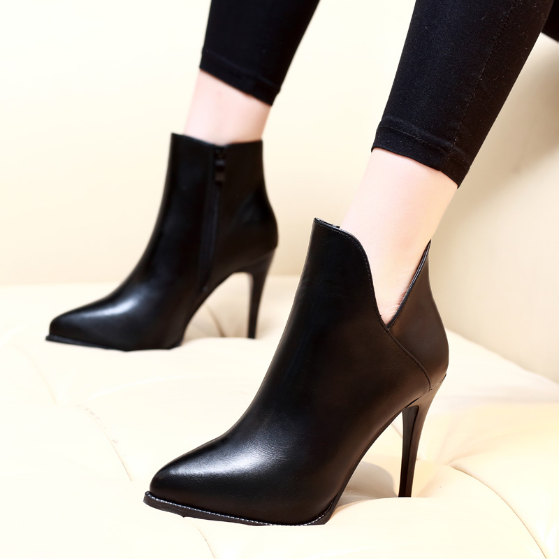 New 9cm Stiletto Heel Super High Heels Extremely Pointed Toe Soft Genuine Leather Sexy Ankle Boots Spring Autumn Shoes CH A0049