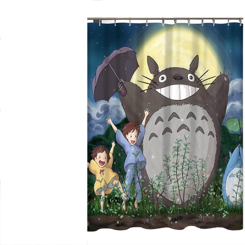 Totoro Cartoon Cute Shower Curtains Bathroom Decor Bath Curtains Waterproof Polyester Fabric Kid's Curtain 12hooks