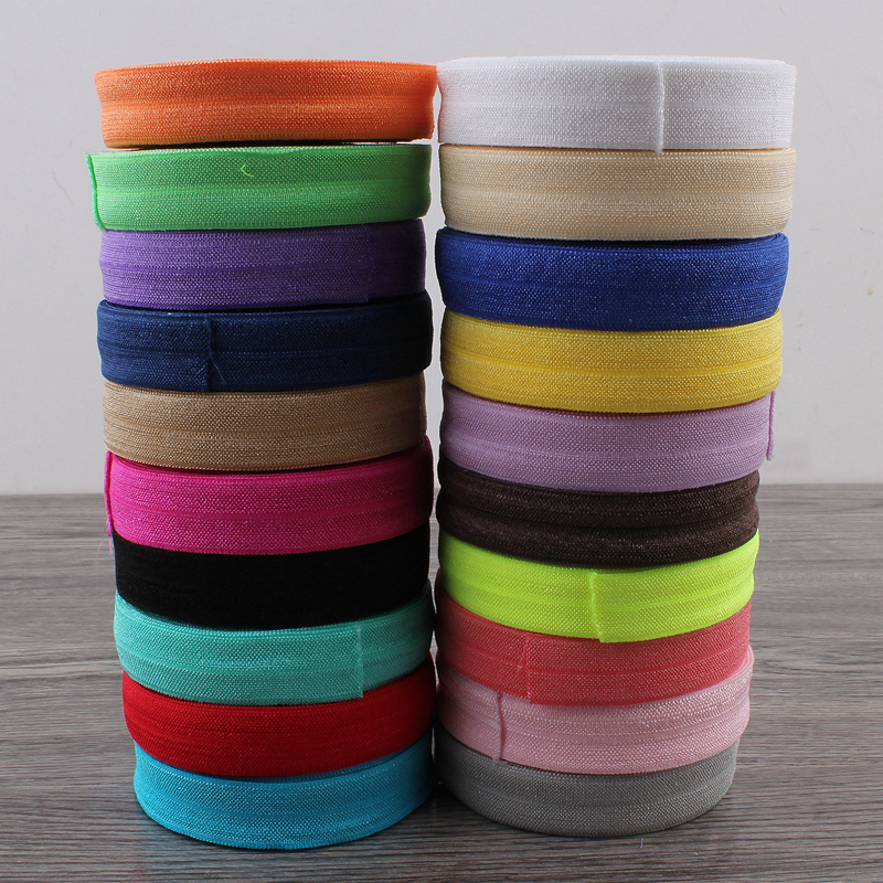 10Yards 5/8 (15mm) Beauty Shiny Solid Color FOE Elastic Band For Hair Ties Fold Over Elastic Ribbon For Head Wear Gift Packing