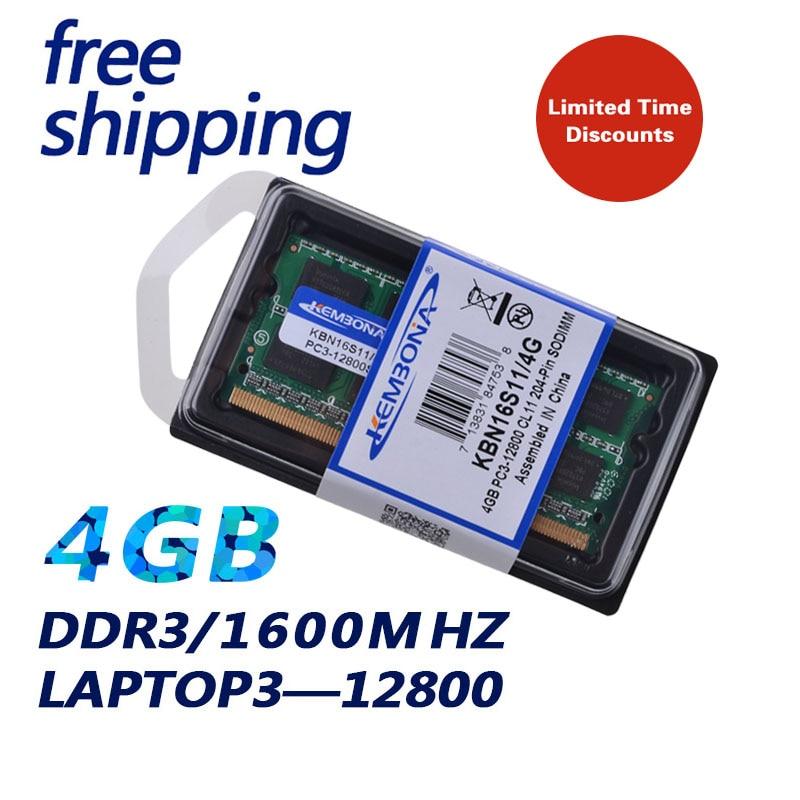 KEMBONA PORTABLE DDR3 4 gb 1600 mhz 4g 204 Broches Neuf Scellé SODIMM Mémoire Ram Memoria Pour ordinateur portable Cahier Vie