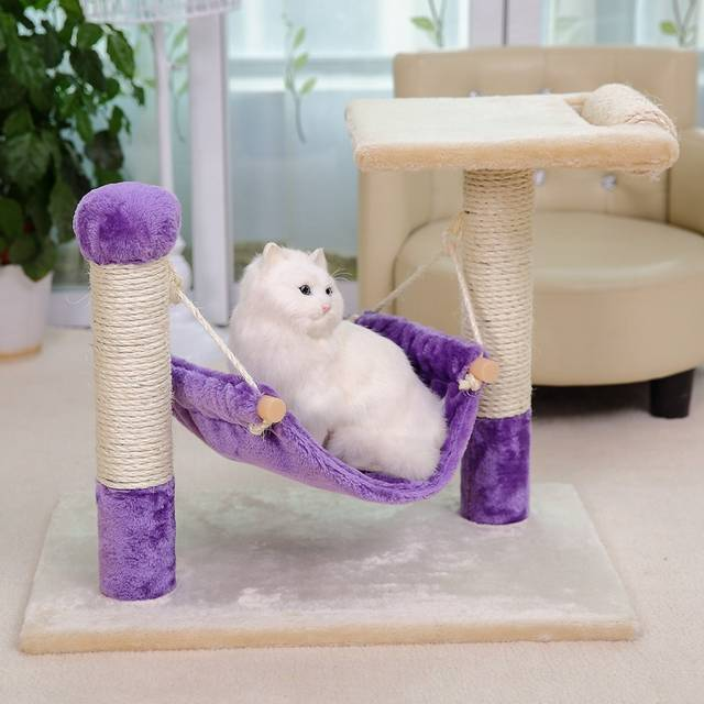 Placeholder Pawzroad Cat Furniture Scratching Board For Toy Post With Hammock Wood Climbing Frame
