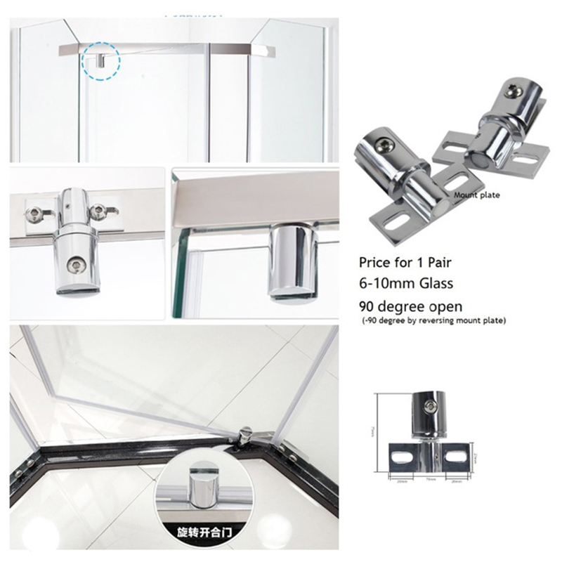 2Pcs/Lo Brass Zinc Shower Box Frameless Glass Door Pivot Hinge2Pcs/Lo Brass Zinc Shower Box Frameless Glass Door Pivot Hinge