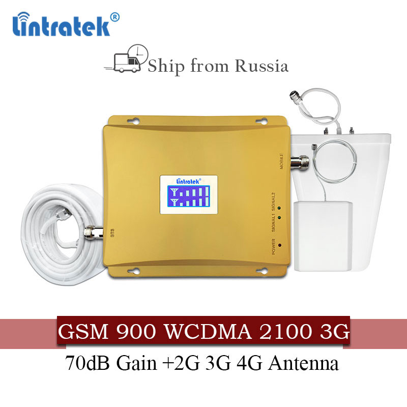 Lintratek Russia 900 3G UMTS 2100 WCDMA Cellular Signal booster GSM repeater 2g 3g 900/2100 Mhz Dual Band Cellphone Amplifier