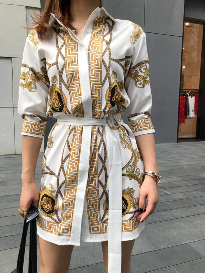 2018 Pic Dentelle Automne Chaude As Robe Vintage Mode Vêtements Femmes Manches Up Mini De Imprimer Lâche Sexy Moitié Vente URt8xw