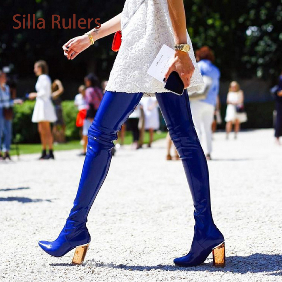 Silla rulers Over The Knee Boots Super Sexy Crystal Transparent Thick Heel Shiny Bota Patent Leather Block Heel Thigh High Boots