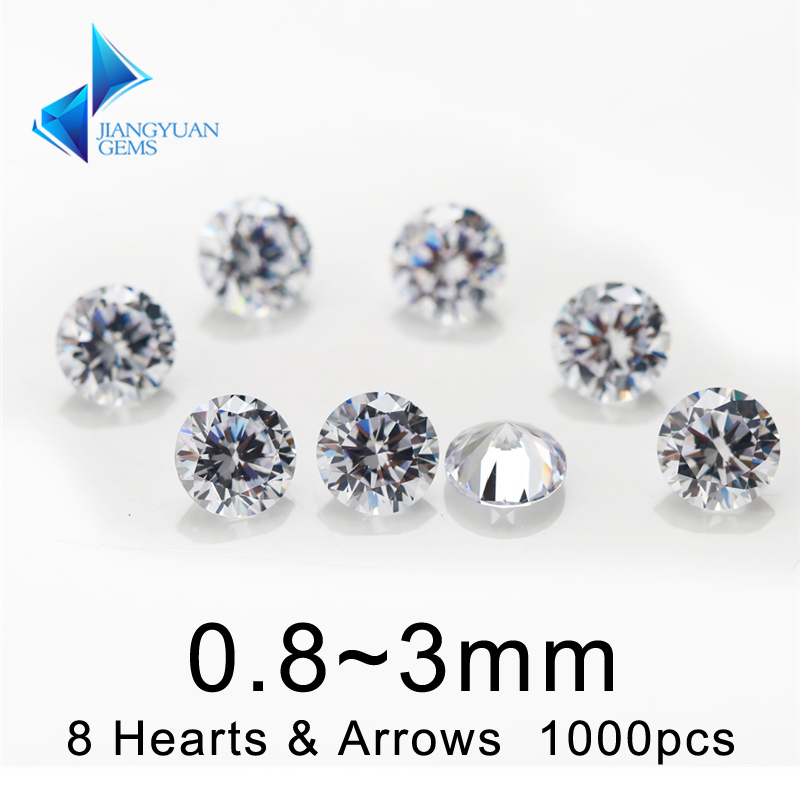 1000Pcs 0.8-3.0mm 8 Hearts And 8 Arrows Cut 5A Quality White Cubic Zirconia Loose CZ Synthetic Gemstone For Jewelry
