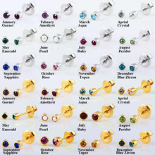 BOG-Pair 24K Gold Plating&Silver 2mm,3mm Birthstone CZ Ear Stud For Piercing Gun Earrings StudsTragus Cartilage piercing jewelry(China)