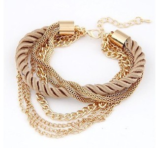Hot wholesale new style Low key Luxurious Metal Chain Braided rope Multilayer bracelet Anklets for women ...