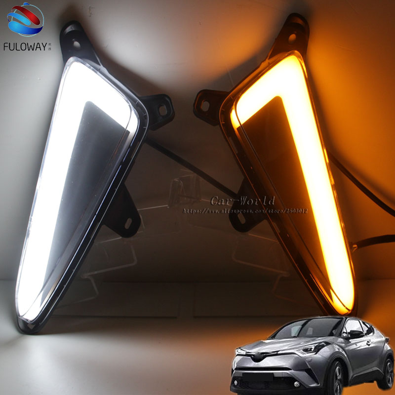 LED DRL Daytime Running Lights Fog Lamp Case For Toyota CHR C HR 2016 2017 Turning External Day Light Accessories Car-styling 2pcs pair sunkia high bright car led drl car styling daytime running lights with fog lamp hole for toyota chr c hr 2016 2017
