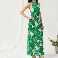 Elegant Dress Sexy Backless Green Leaves Printed Maxi Dress Halter Evening Vintage Bandage Sleeveless Long Party