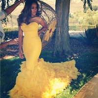 2016 Mermaid Long Yellow Prom Dresses Sweetheart Off Shoulder Formal Party Gown Dress For Graduation