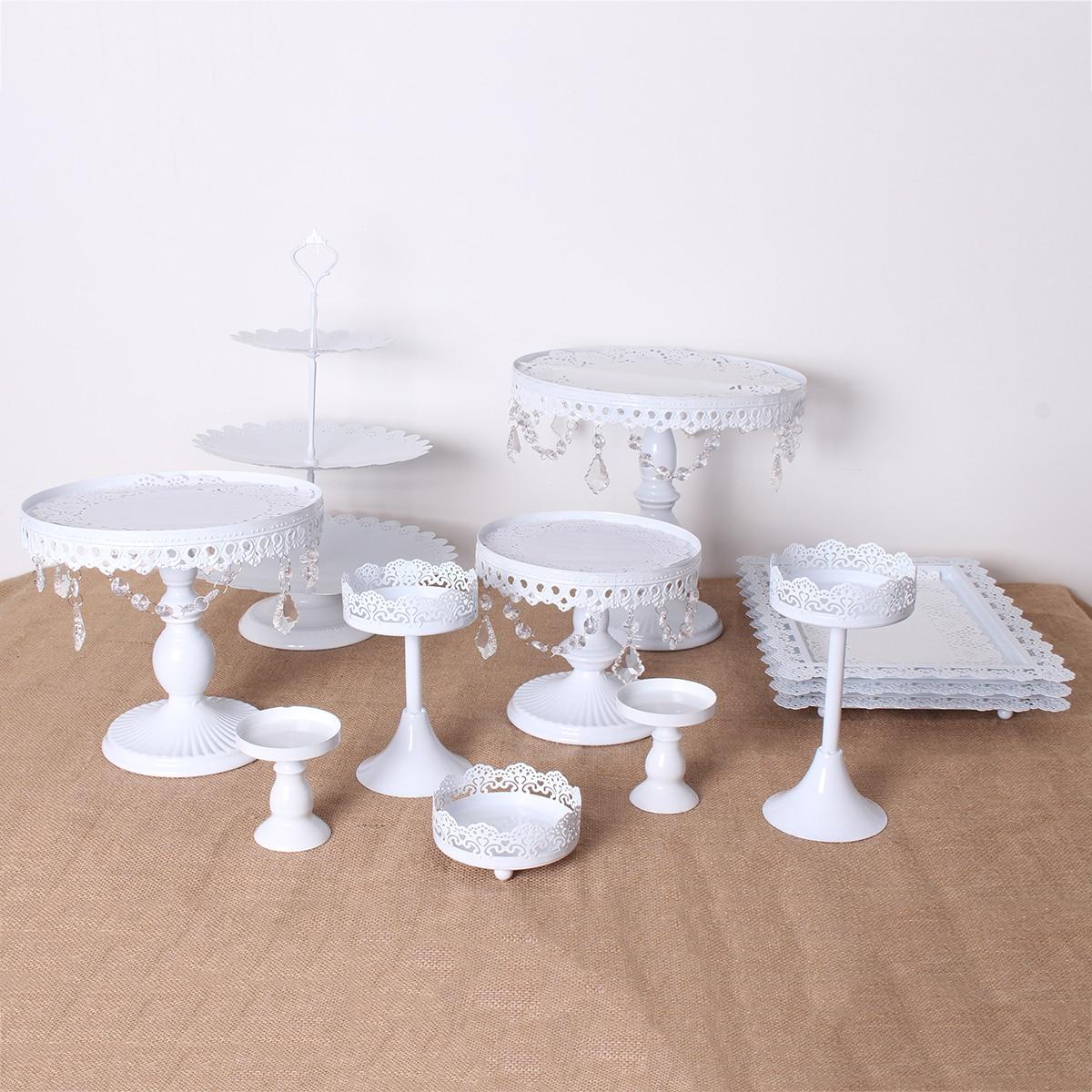 White Gold 12pcs Crystal Metal Cake Stand Set Holder Cupcake Stand