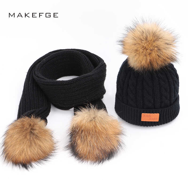 Knitted children's cotton hats scarf winter warm raccoon fur pom-pom boy girl universal mask ski caps Scarf Hat Glove Set beanie