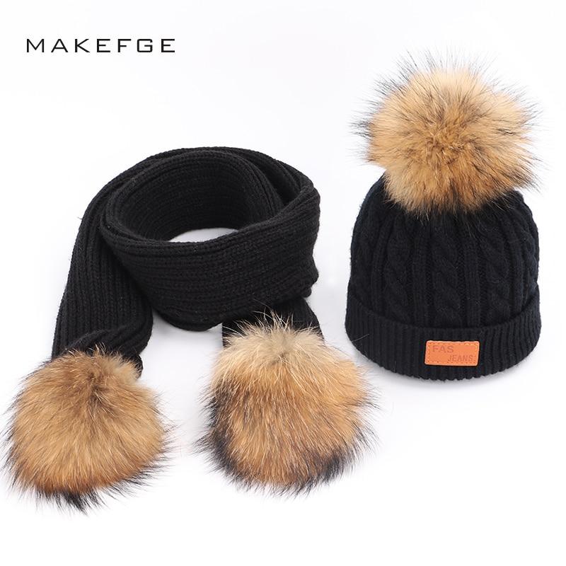 Knitted Children's Cotton Hats Scarf Winter Warm Raccoon Fur Pom-pom Boy Girl Universal Mask Ski Caps Scarf Hat Glove Set Beanie