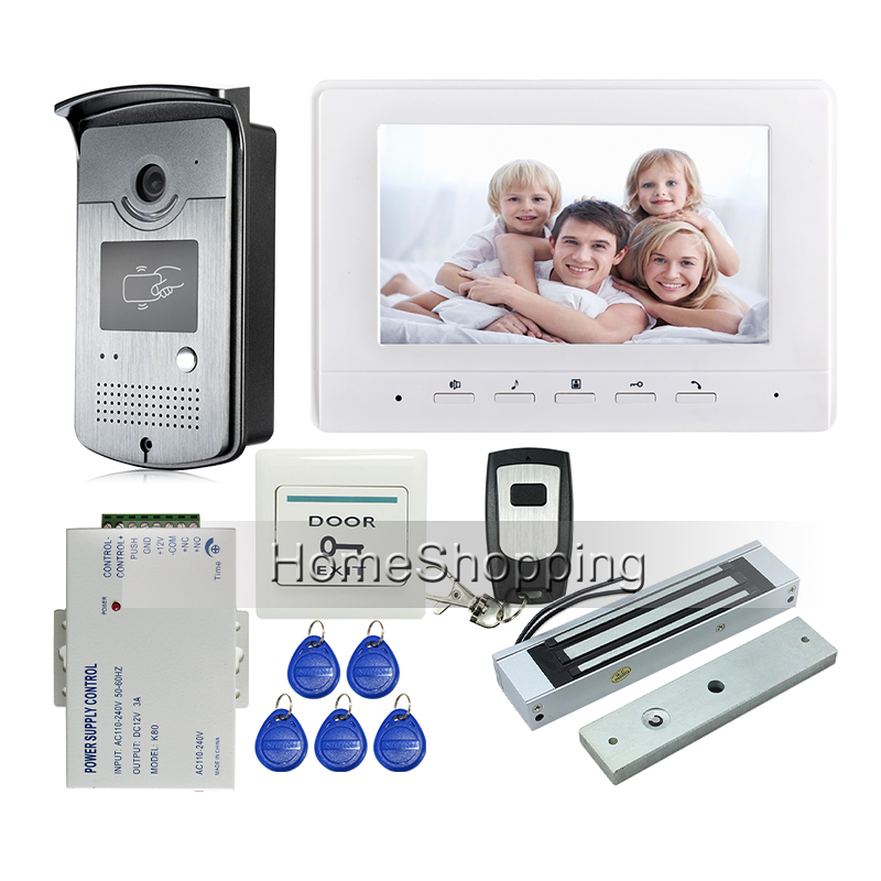 Free Shipping Brand 7 Color Screen Video Intercom Door Phone Kit + Night Vison RFID Reader Access Door Camera + EM Door Lock free shipping brand new 7 color screen video intercom door phone system night vison rfid reader door intercom camera remote