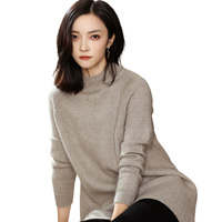 DILLY FASHION oversize mock neck long raglan sleeves loose cashmere wool blended knitwear sweater for woman GML7290