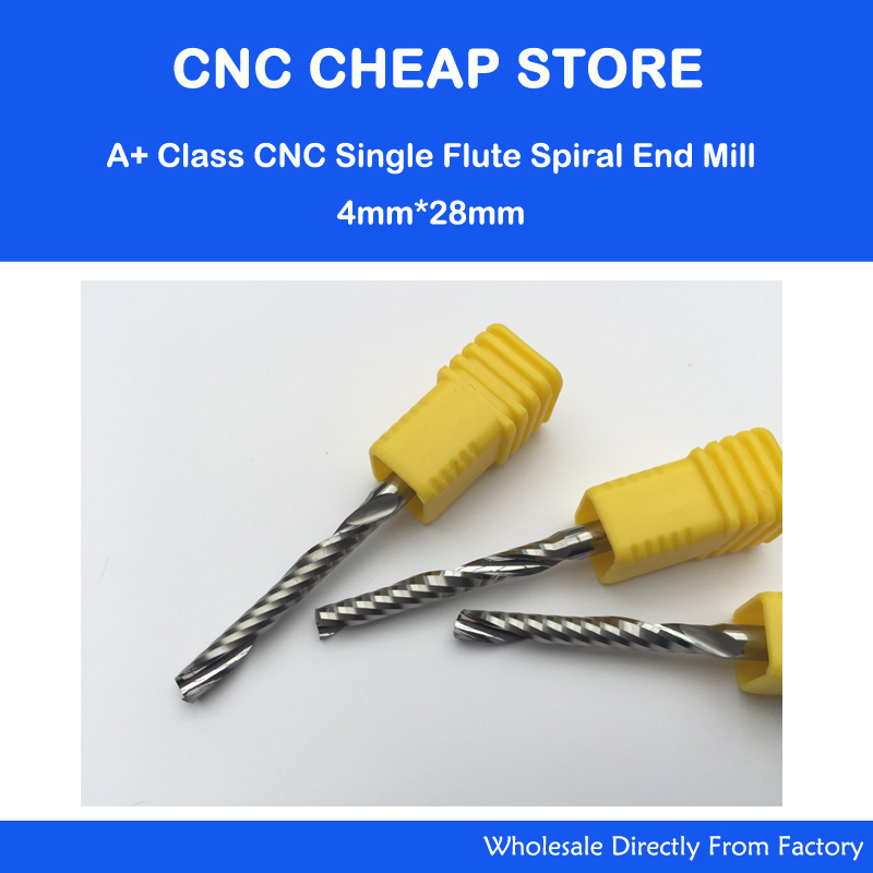 Free shipping ,4MM*28, 2pcs/Lot AAA single flutes spiral cnc router bits,wood bits/end mills,for Acylic ,PVC,MDF,Aluminum,Copper free shipping 10pcs 6x25mm one flute spiral cutter cnc router bits engraving tool bits cutting tools wood router bits