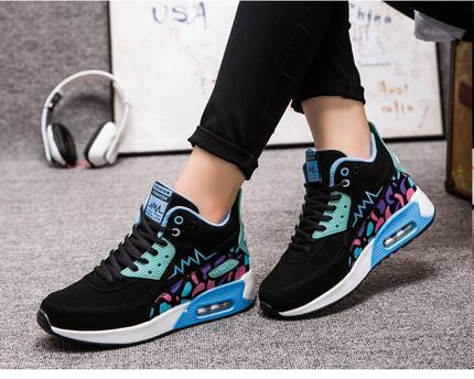 2016 Spring Autumn Women High-top Air Shoes Casual Fashion Women's Walking Trainers Heighten Shoes Zapatillas Mujer Free Shippin