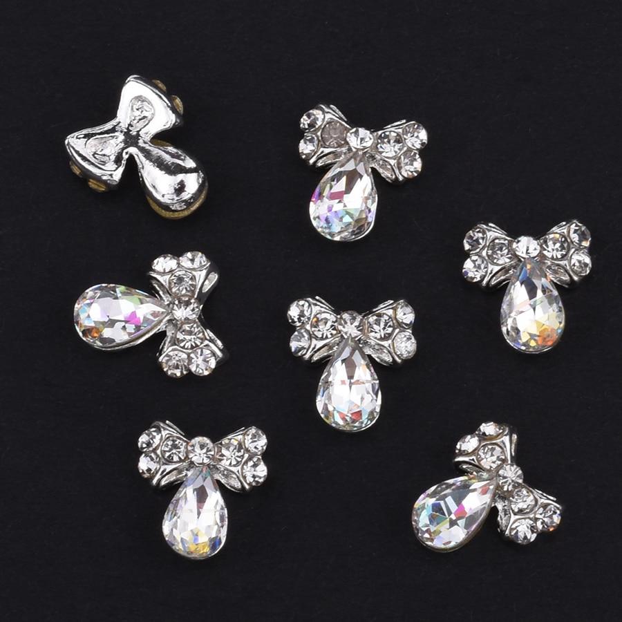 10pcs Glitter glass gems Alloy 3d nail jewelry bows strass nail art ...