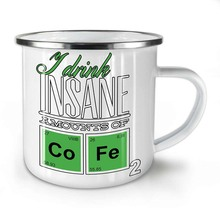 Coffee Chemistry Geek Enamel Mug, Coffee Cup – Strong, Easy-Grip Handle, Two Side Print, Ideal for Camping & Outdoors
