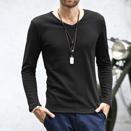 2018 Men Blank Long Sleeve Casual T Shirts Men V Neck Plain Black ...
