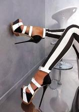 High Quality Black White Leather Gladiator Sandals Women Peep Toe Cut-out Buckle Strap Platform Patchwork