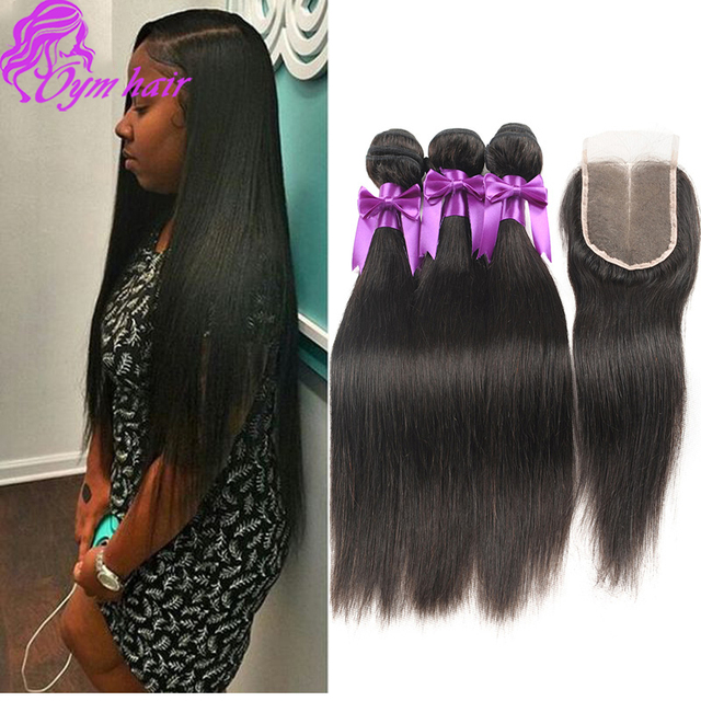 Cabelo liso brasileira com 3*4 swiss lace closure 10a cabelo virgem brasileiro com fechamento barato 3 bundles com lace closure