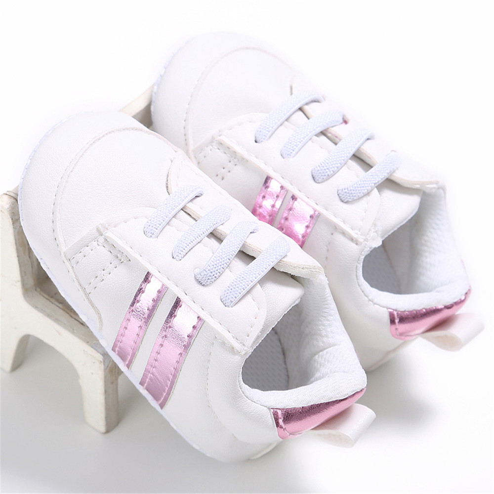 11-13CM Toddler Crib Shoe Lace-up White Classic Indoor Infants Baby Soft Sole First Walker Shoe Training Anti-slip Shoes