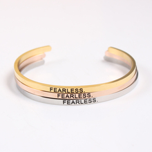2017 New Stainless Steel Engraved (FEARLESS) Positive Inspirational Quote fashion Cuff Mantra Bracelet Bangle For Girls