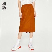 Toyouth novo outono elástico saias de cintura alta feminina solta midi saia h linha sólida senhoras saia causal magro plus size faldas saia