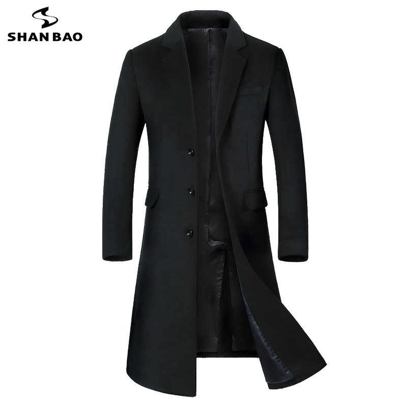 SHANBAO winter dikke warme mannen merk wollen jas luxe hoge kwaliteit business casual lange single-breasted slanke wol jas