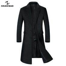 SHANBAO Зимняя Толстая Теплая мужская брендовая шерстяная куртка класса люкс высокого качества деловая Повседневная Длинная однобортная тонкая шерстяная куртка