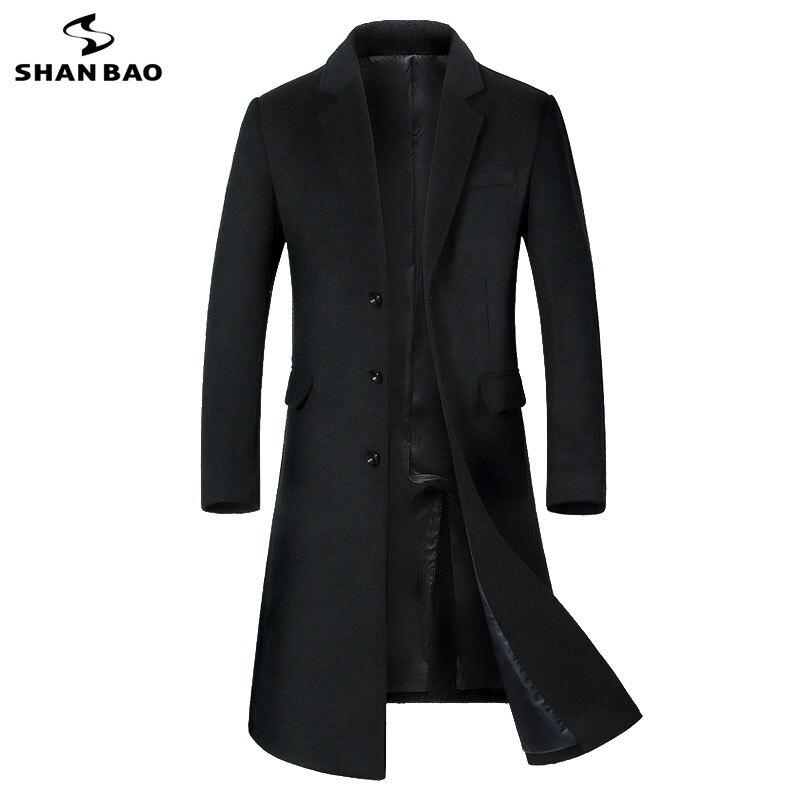 SHANBAO 冬厚く暖かいメンズブランドウールコート高級高品質ビジネスカジュアルロングシングルブレストスリムウールジャケット  グループ上の メンズ服 からの ウール混紡 の中 1
